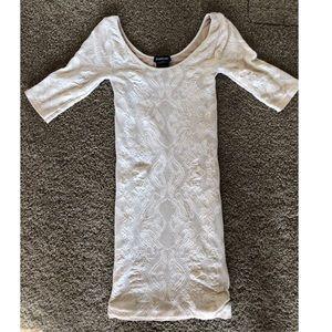 Bebe white mesh bodycon dress